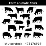 different cows silhouettes set. ... | Shutterstock .eps vector #475176919