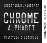 chrome alphabet font. metallic... | Shutterstock .eps vector #475179304