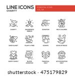 charity   modern vector line... | Shutterstock .eps vector #475179829