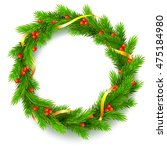 traditional christmas wreath... | Shutterstock .eps vector #475184980