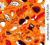 woodland wild animals and... | Shutterstock .eps vector #475187134