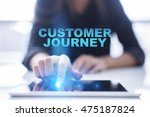 "Small photo of Woman is using tablet pc, pressing on virtual screen and select ""Customer journey""."