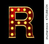 r isolated golden letter with... | Shutterstock . vector #475188154