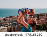 mother and little daughter on... | Shutterstock . vector #475188280