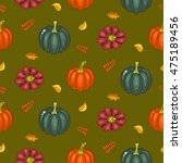 autumn harvest seamless vector... | Shutterstock .eps vector #475189456