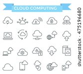 cloud computing icons  thin... | Shutterstock .eps vector #475196680