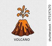 volcano eruption with hot lava... | Shutterstock .eps vector #475197670