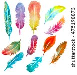 set of watercolor hand painted... | Shutterstock . vector #475198873