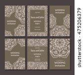 vintage invitation cards set...   Shutterstock .eps vector #475206379