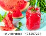 fresh watermelon smoothie in... | Shutterstock . vector #475207234