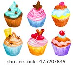 set of hand painted watercolor... | Shutterstock . vector #475207849