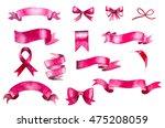 set of hand painted pink... | Shutterstock . vector #475208059