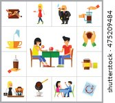 people and coffee icon set | Shutterstock .eps vector #475209484
