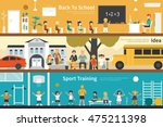 back to school idea sport... | Shutterstock .eps vector #475211398