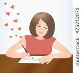 the woman writes a love letter... | Shutterstock .eps vector #475212073