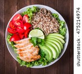 healthy salad bowl with quinoa  ... | Shutterstock . vector #475214974
