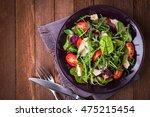 fresh salad with chicken ... | Shutterstock . vector #475215454
