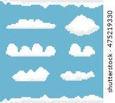 vector sky with clouds pixel... | Shutterstock .eps vector #475219330