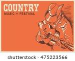 man in american cowboy hat... | Shutterstock .eps vector #475223566