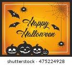 fun and cute cartoon halloween... | Shutterstock .eps vector #475224928