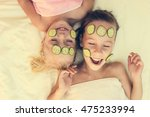 beautiful girl with facial mask ... | Shutterstock . vector #475233994