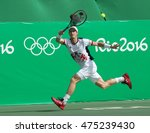 Small photo of RIO DE JANEIRO, BRAZIL - AUGUST 12, 2016: Olympic champion Andy Murray of Great Britain in action during men's singles quarterfinal of the Rio 2016 Olympic Games at the Olympic Tennis Centre