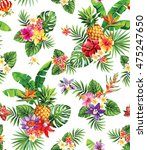 seamless tropical pattern with... | Shutterstock .eps vector #475247650