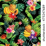 seamless pattern with tropical... | Shutterstock .eps vector #475247689