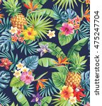 Stock vector seamless tropical pattern with pineapples palm leaves and flowers vector illustration 475247704