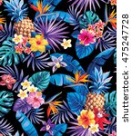 seamless tropical pattern with... | Shutterstock .eps vector #475247728