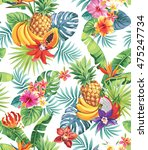 seamless pattern with tropical... | Shutterstock .eps vector #475247734