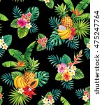 seamless pattern with tropical... | Shutterstock .eps vector #475247764