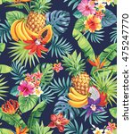 seamless pattern with tropical... | Shutterstock .eps vector #475247770
