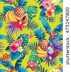 seamless pattern with tropical... | Shutterstock .eps vector #475247800