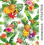 seamless pattern with tropical... | Shutterstock .eps vector #475247818