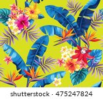 seamless pattern with palm... | Shutterstock .eps vector #475247824