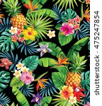 seamless tropical pattern with... | Shutterstock .eps vector #475247854