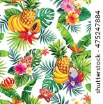 seamless pattern with tropical... | Shutterstock .eps vector #475247884