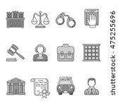 set of law and justice icons.... | Shutterstock .eps vector #475255696
