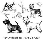 dog grooming set. hand drawn...   Shutterstock .eps vector #475257334