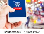 hand holding mobile phone with...   Shutterstock . vector #475261960