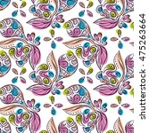 doodle seamless pattern. floral ... | Shutterstock .eps vector #475263664