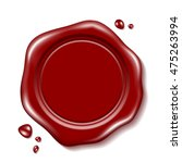 red wax seal with small drops | Shutterstock .eps vector #475263994