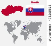 slovakia map on a world map...   Shutterstock .eps vector #475265818