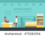 people in supermarket. vector... | Shutterstock .eps vector #475281556