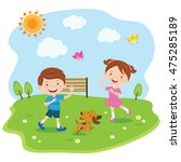 Stock vector happy kids playing under the sun vector illustration of a little boy and girl enjoy sunny day 475285189