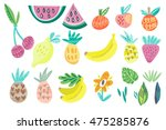 vector stylish set of fruits. | Shutterstock .eps vector #475285876