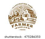 illustration farm logo in... | Shutterstock .eps vector #475286353