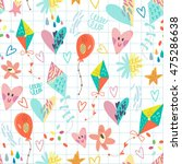 happy vector pattern of kites... | Shutterstock .eps vector #475286638