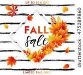 autumn sale flyer template with ... | Shutterstock .eps vector #475289860